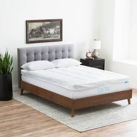 lucid 4 hypoallergenic down alternative gel memory foam mattress topper multiple sizes. Black Bedroom Furniture Sets. Home Design Ideas