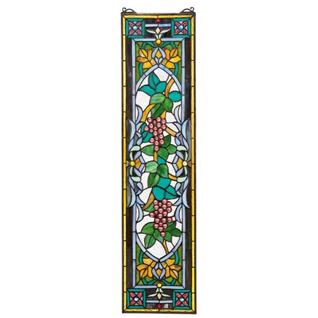 Design Toscano Grapes on the Vine Tiffany-Style Stained Glass Window ()
