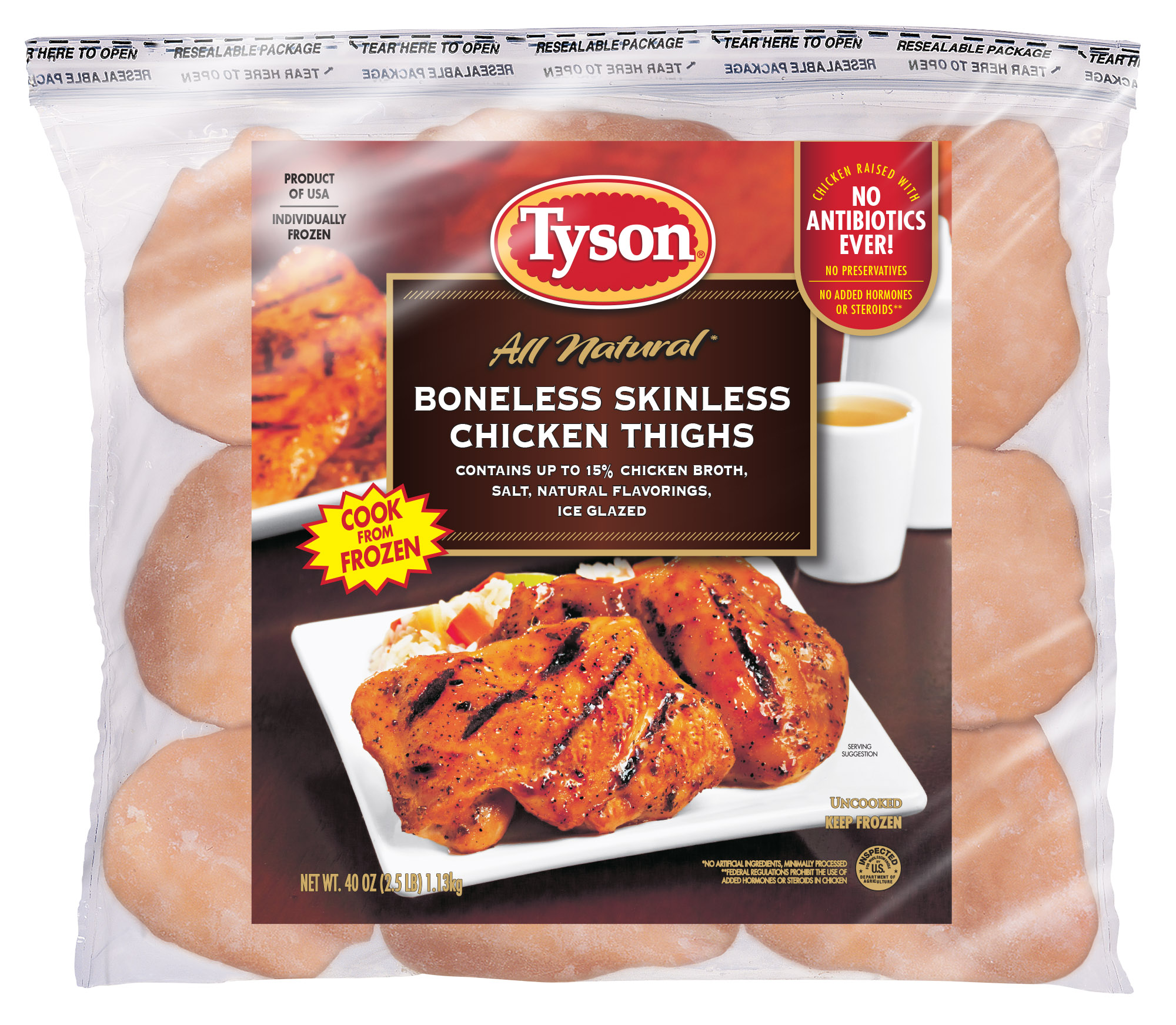 Tyson 174 Boneless Skinless Chicken Thighs 2 5 Lb Frozen