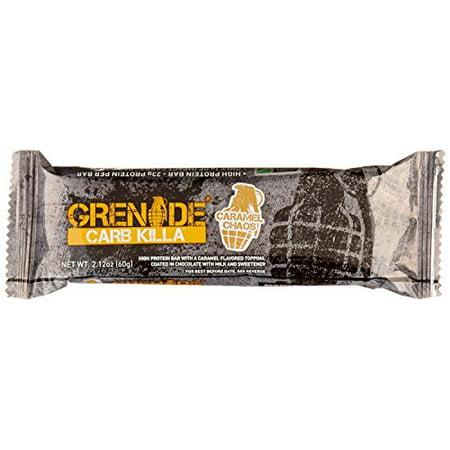- Grenade Carb Killa Protein Bar, Caramel Chaos, 23g Protein, 12 Ct