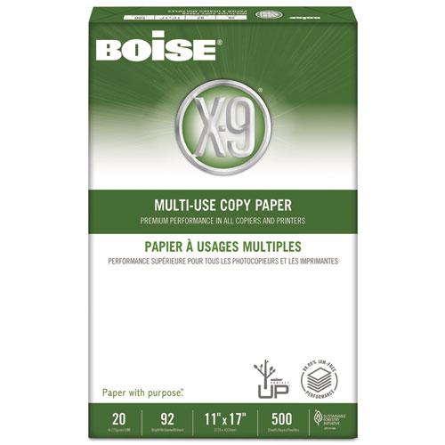 """Boise X-9 Copy Paper, 92 Brightness, 20 lb, 11"""" x 17"""", White, 2500 Sheets/Carton"""