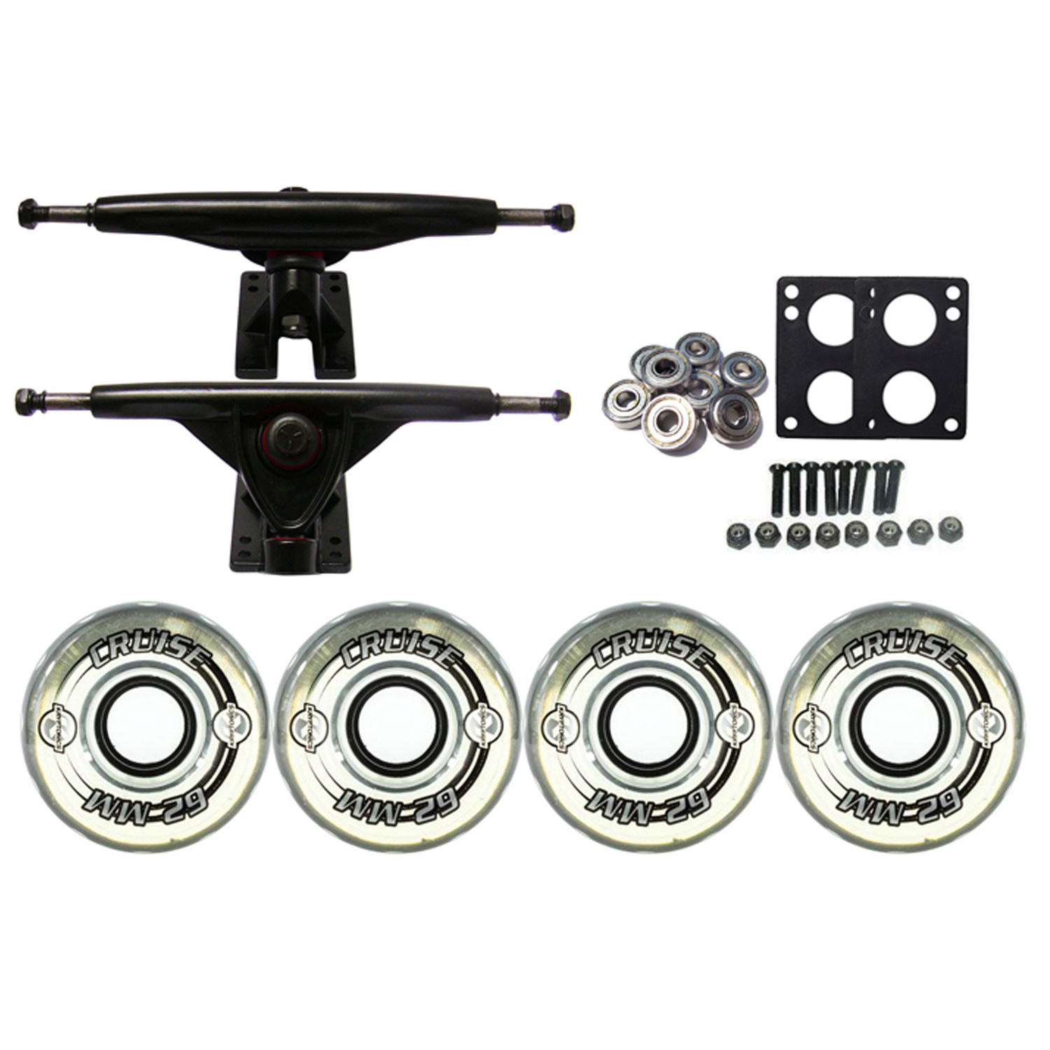 KRYPTONICS CRUISE Truck Wheel Pack 62mm CLEAR 180mm Black