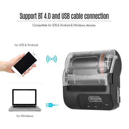 GOOJPRT Portable Wireless BT 80mm Self Adhesive Thermal Label Maker Mini Thermal Receipt Printer High Speed Bill Ticket Printing with Display Screen Rechargeable Battery USB Cable Compatible for Andro - image 5 de 7