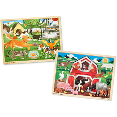 Melissa and Doug Animals Wooden Jigsaw Puzzle Sets, Pets and Farm, 24 Pieces (24 Piece Puzzle)