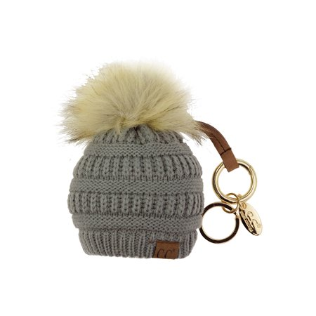 85341f661 NYFASHION101® Pom Pom Beanie Key Chain Key Ring Handbag Tote Accessory -  Natural Gray