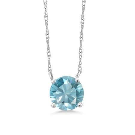 1.20 Ct Round Blue Zircon 18K White Gold Necklace
