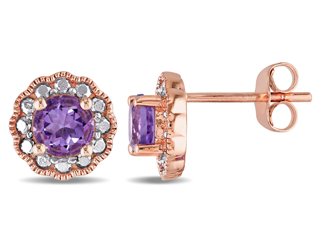 Amethyst Halo Stud Earrings 4 5 Carat (ctw) in 10K Pink Gold by Gem And Harmony