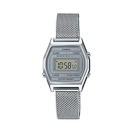 Casio LA690WEM-7 Women's Vintage Youth Silver Mesh Band Alarm Chronograph Digital Watch ()