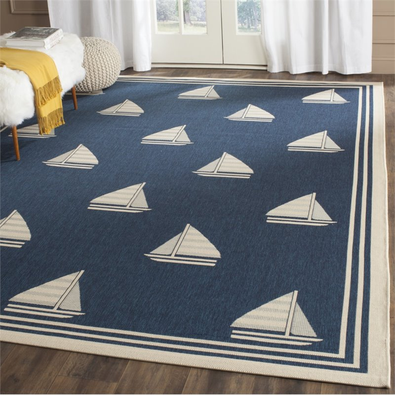 """Safavieh Courtyard 2'7"""" X 5' Power Loomed Rug in Navy and Beige - image 1 of 3"""