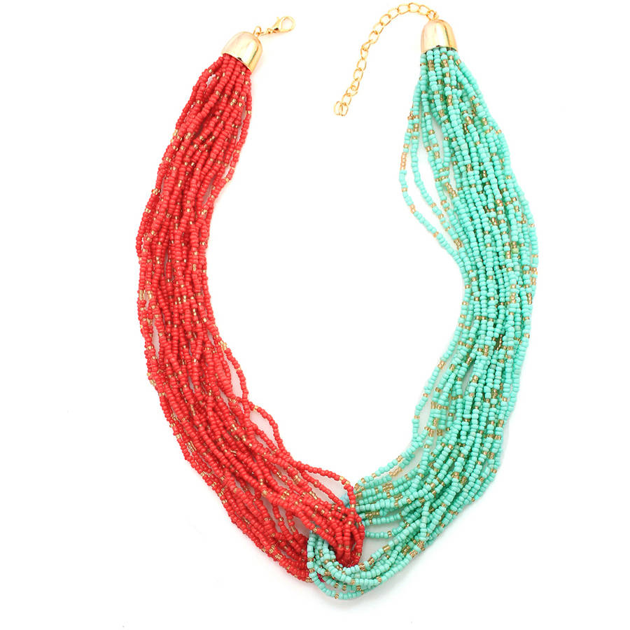 Tazza Gold-Tone Turquoise and Coral Seed Bead Hook Together Fashion Necklaces