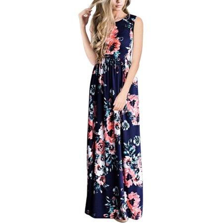 Women Floral Long Maxi Dress Sleeveless Summer Party Beach Full Length Sundress