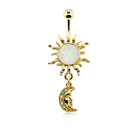 Belly Button Ring Navel 14g Gold Plate Opal Celestial Sun Moon Dangle
