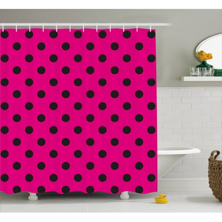 Hot Pink Shower Curtain, Pop Art Inspired Design Retro Pattern of Black Polka Dots Classical Spotted, Fabric Bathroom Set with Hooks, Hot Pink Black, by (Polka Dot Bathroom)