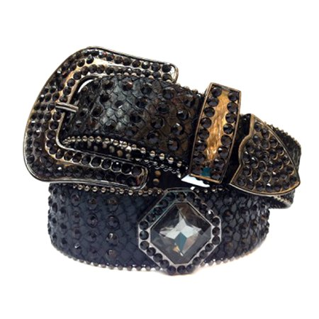 Black Leather Belt in a Crocodile Pattern Decorated in High Quality Black Crystals, Size