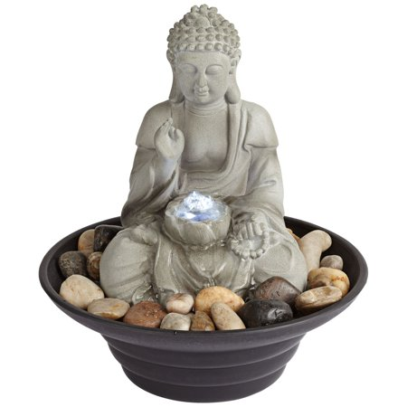 John Timberland Asian Zen Buddha Indoor Tabletop Water Fountain with Light LED 10