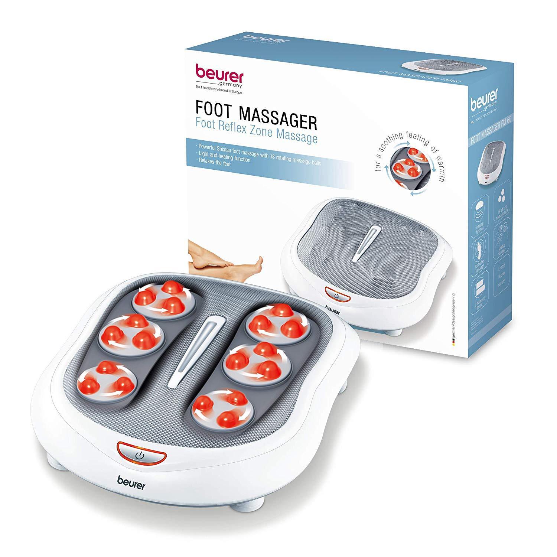 Beurer Shiatsu Foot Massager 18 Rotating Massage Heads, Relax Sore & Tired Feet with Deep Tissue, Heat Function, FM60