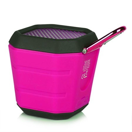 OREI Portable Splash Proof Bluetooth 4.0 Speaker Wireless Double-coil Speakers with Microphone Rechargeable Battery up to 8 Hours Playtime, Outdoor Sport Design Shock-proof & Dust-proof Speaker - Pink