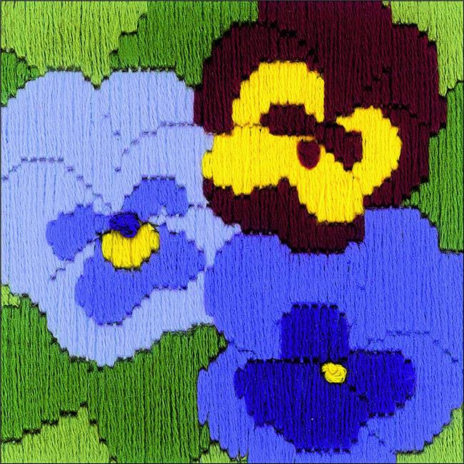 4 x 4 in. Three Pansies Stamped Cross Stitch Kit - 13 Count
