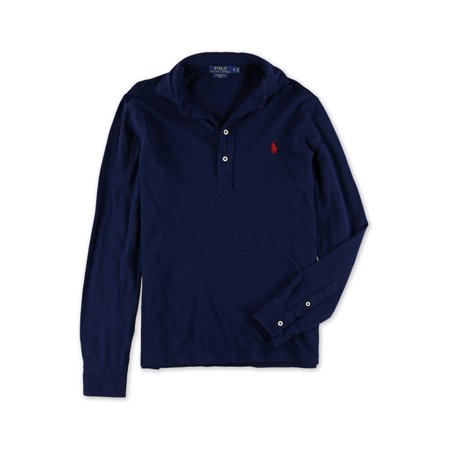 Ralph Lauren Mens Solid Long Sleeve Rugby Polo Shirt cruisenavy XS