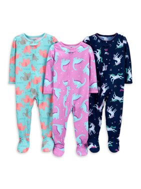 Child of Mine by Carter's Baby Toddler Girls 1-Piece Poly Footie Sleeper Pajamas, 3pk