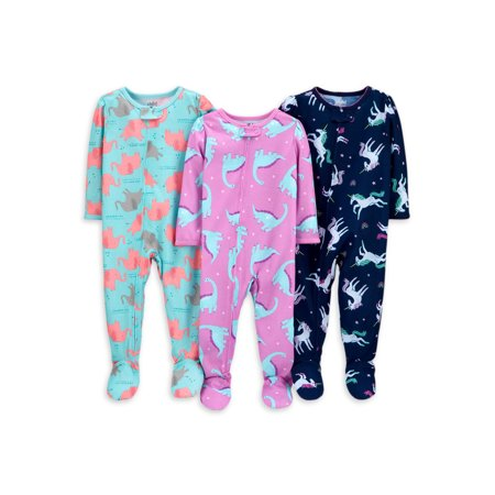 Child of Mine by Carter's Baby Toddler Girls 1-Piece Poly Footie Sleeper Pajamas, 3pk Carters Girls Sleeper