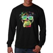Men's Technicolor Monkey Black Long Sleeve T-Shirt 2X-Large Black