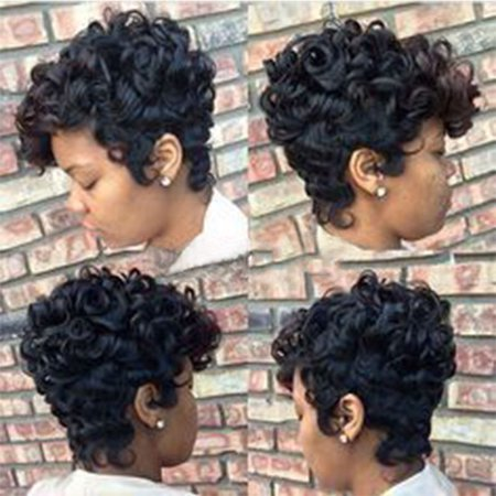 Women Short Black Brown FrontCurly Hairstyle Synthetic Hair Wigs For Black - 1970s Hairstyles For Women