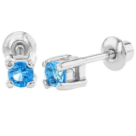 Plaqué Rhodium Bleu Cristal Enfants décembre Bébés filles revisser Boucles d'oreilles 3 mm - image 5 de 5