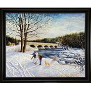 "Pakenham Bridge Winter-KEVDOD98973 Print 14.5""x18"" by Kevin Dodds in a Bistro Expresso"