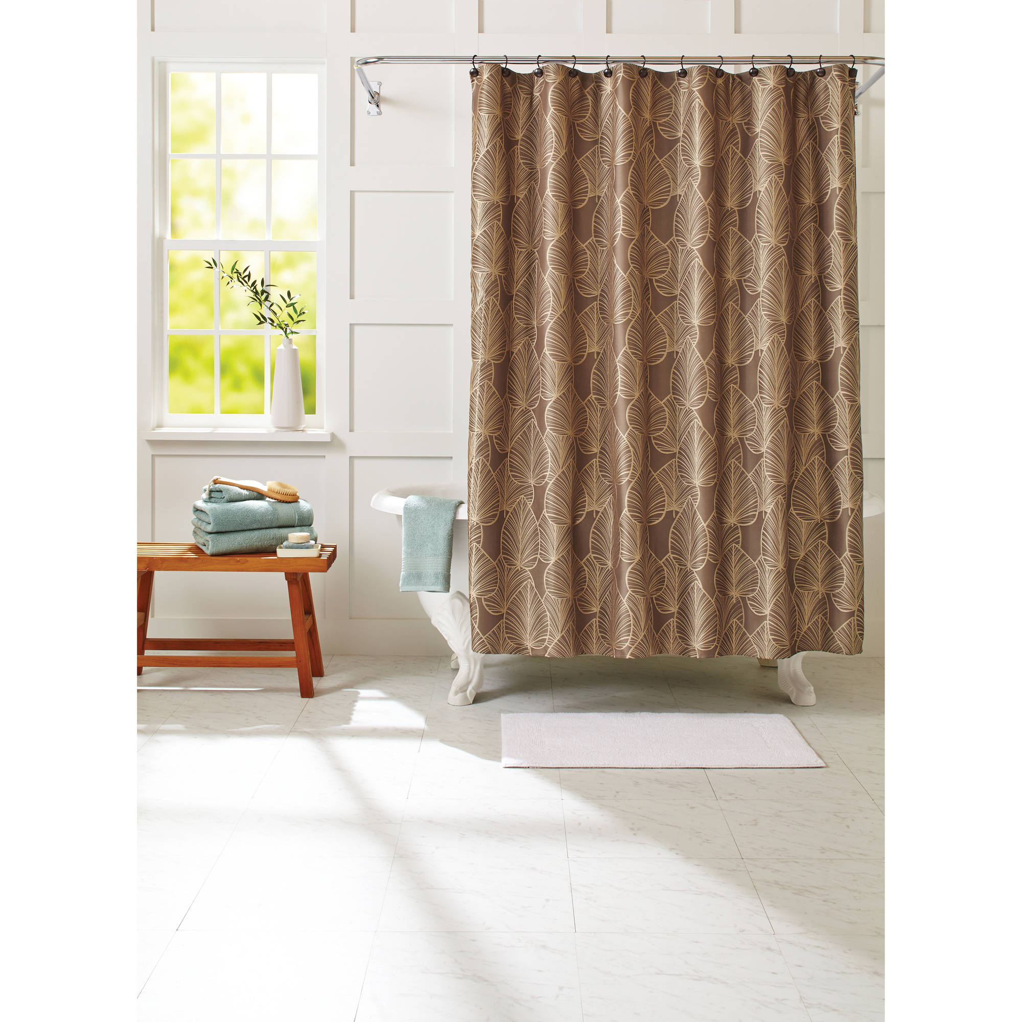 Better Homes And Gardens Leaves 13 Piece Textured Fabric Shower Curtain  Set, Hooks Included