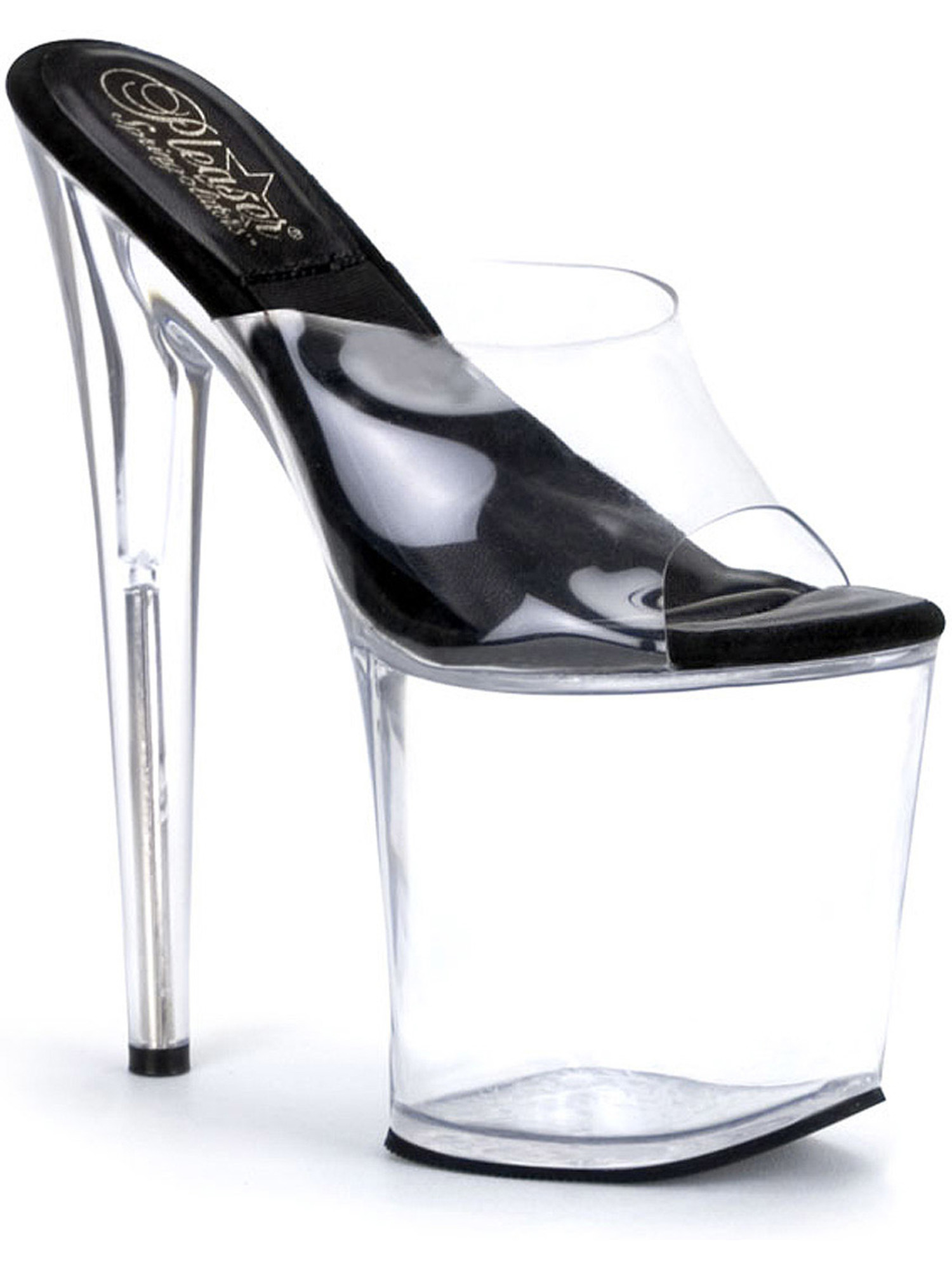 8 Inch High Platform Open Toe Shoes Clear Platform Sexy Stripper Shoes