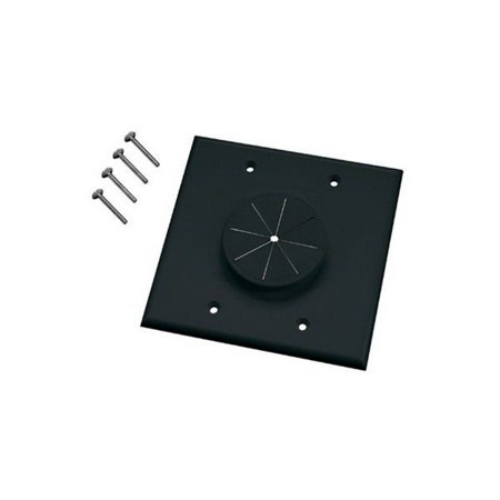 Gang Wireport Wall Plate (50-9202 Double Gang Wireport Cable Pass Through Wall Plate With Grommet-Black )