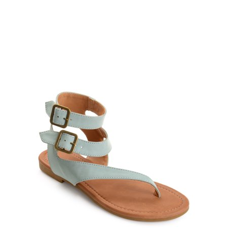 Womens Faux Leather Buckle Double Wrap Thong Sandals