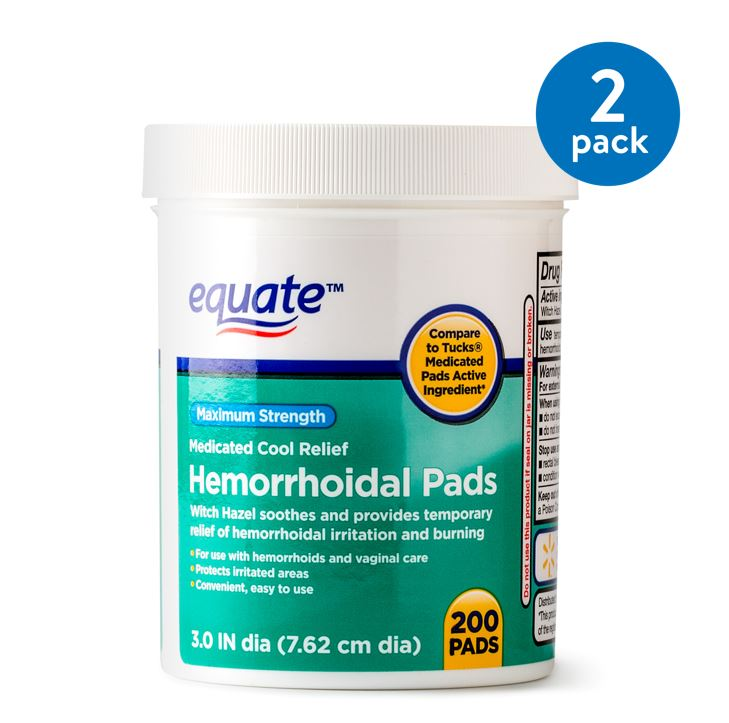 (2 Pack) Equate Hemorrhoidal Maximum Strength Medicated Cool Relief Pads, 200 Ct