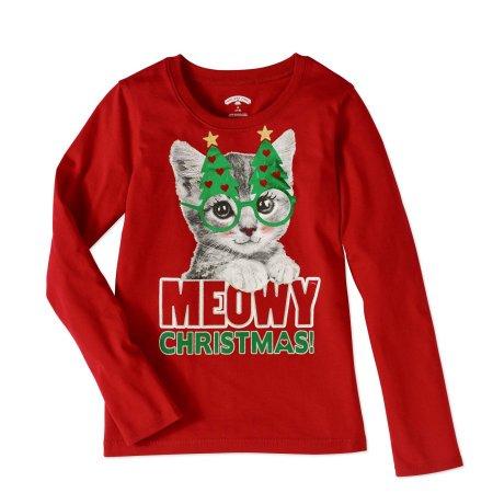 girls meowy christmas kitty cat shirt long sleeve christmas kitten t shirt