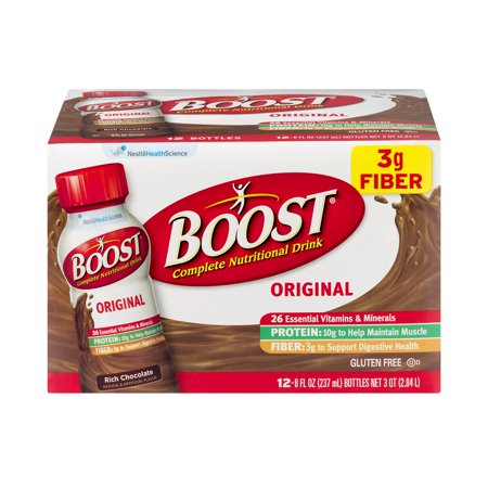 BOOST ORIGINAL Complete Nutritional Drink, Chocolate Sensation, 8 fl oz Bottle, 12 Pack