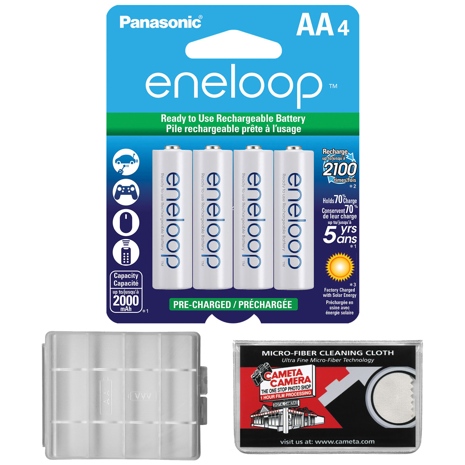 Panasonic eneloop (4) AA 2000mAh Pre-Charged NiMH Rechargeable Batteries with AA Battery Case + Microfiber Cleaning Cloth