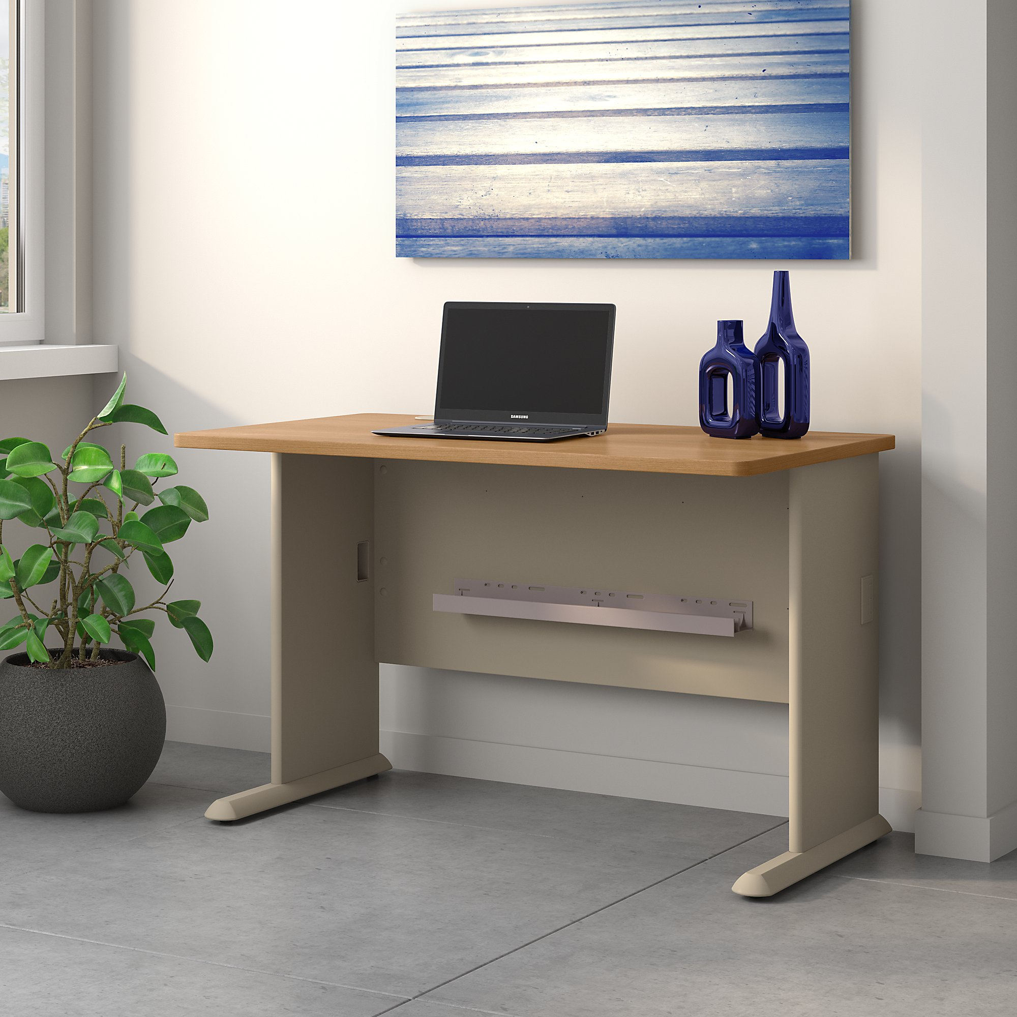 Bush Business Furniture Series A 48W Desk in Light Oak and Sage