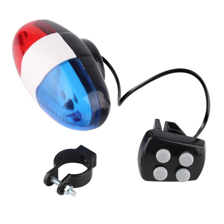 Bike Bicycle Cycling 4 Sounds LED Police Car Siren Electric Light Horn Bell