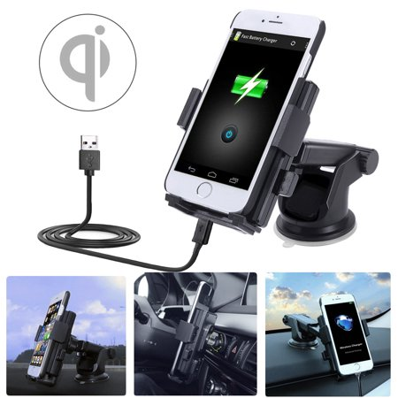 10W Fast Qi Wireless wirelesschargerforiphone Car Charger, Air Vent Phone Mount Holder Cradle for all Qi-Enabled Devices Smart Cell Phone (Mobile Device Holder)
