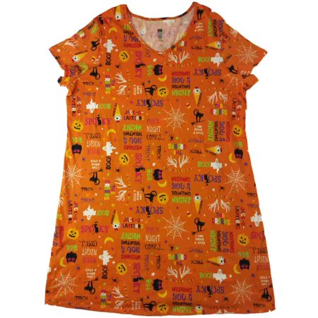 Womens Orange Kitty Cat Halloween Night Gown Pumpkin Owl Spooky Sleep Shirt