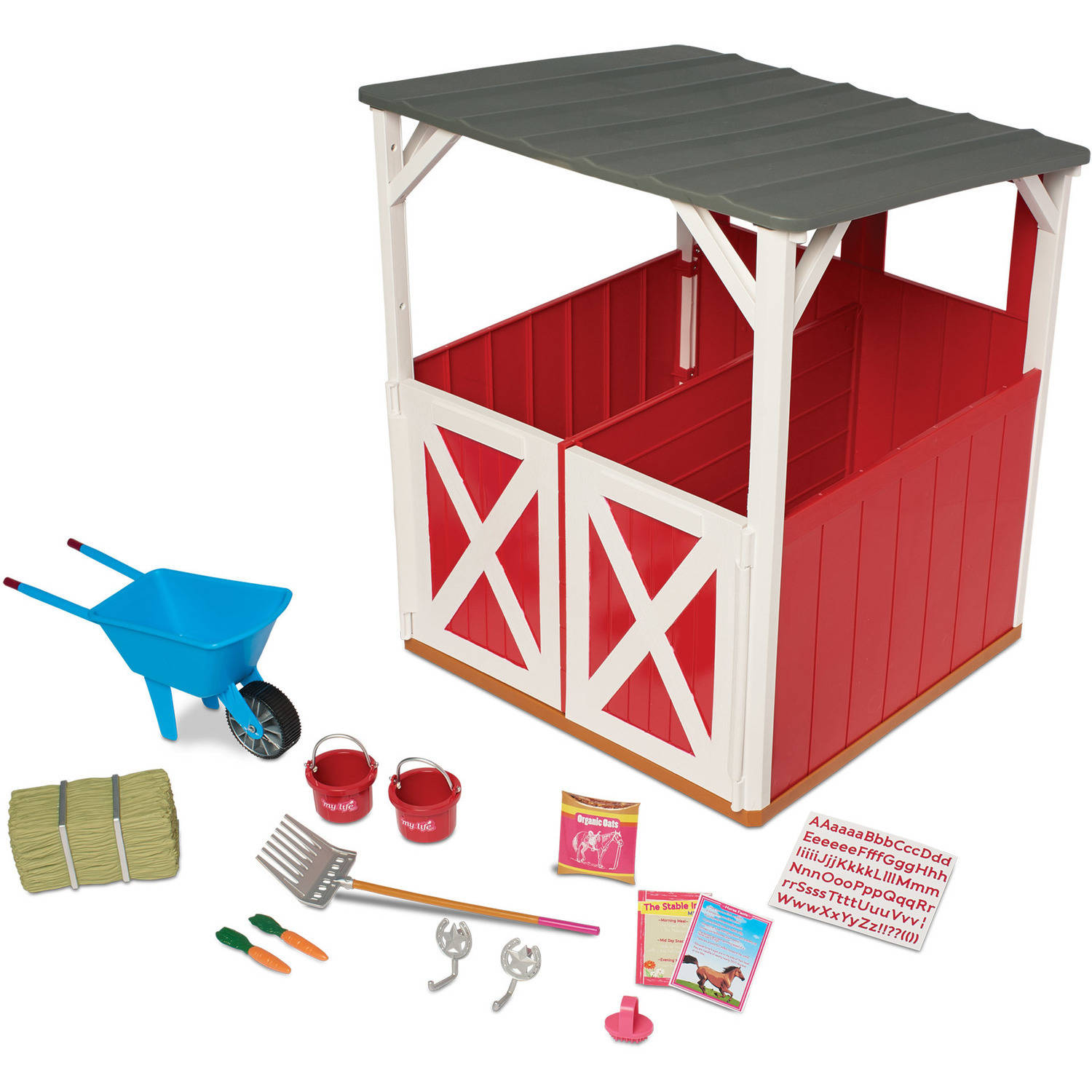 My Life As 2-Stall Stable Play Set, Multiple Accessories, Designed for Ages 3 and Up