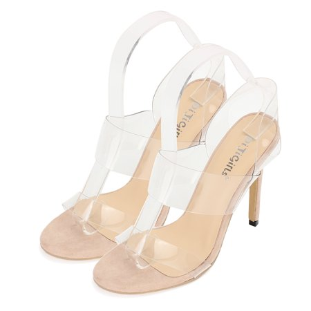 High Fashion Women Ladies Clear Strappy Stiletto High Heel Open Peep Toe Sandal Cool Shoes