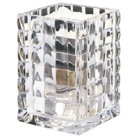 Clear Square Glass Holder - Hollowick Optic Block Clear Glass Square Votive Candle Holder - 2 5/8