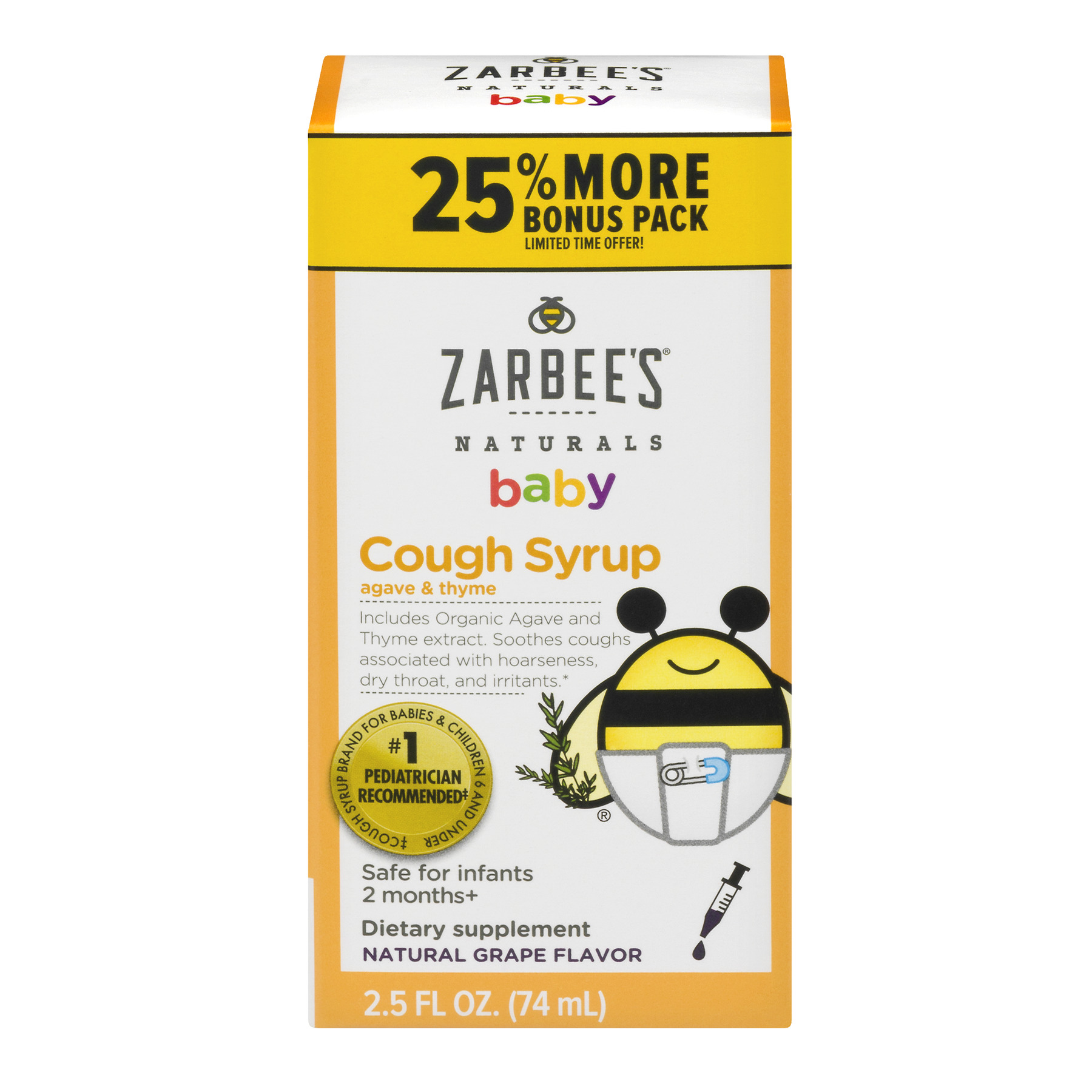 Zarbee's Naturals Baby Natural Grape Flavor Cough Syrup, 2.5 fl oz