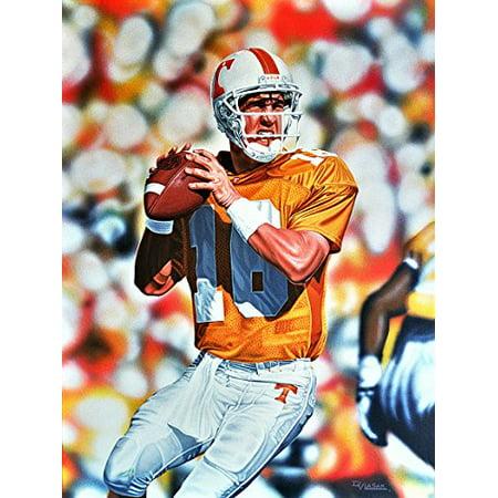 buyartforless CANVAS Peyton Manning Tennessee Volunteers by Darryl Vlasak 32x24 Painting Print on Wrapped Canvas Memorabilia College Football Legend Quarterback