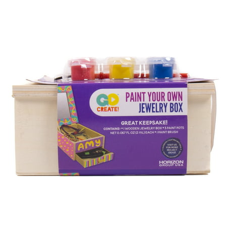 Horizon Group USA Wooden Jewelry Box with Paint, 1 - Jewelry Boxes For Kids