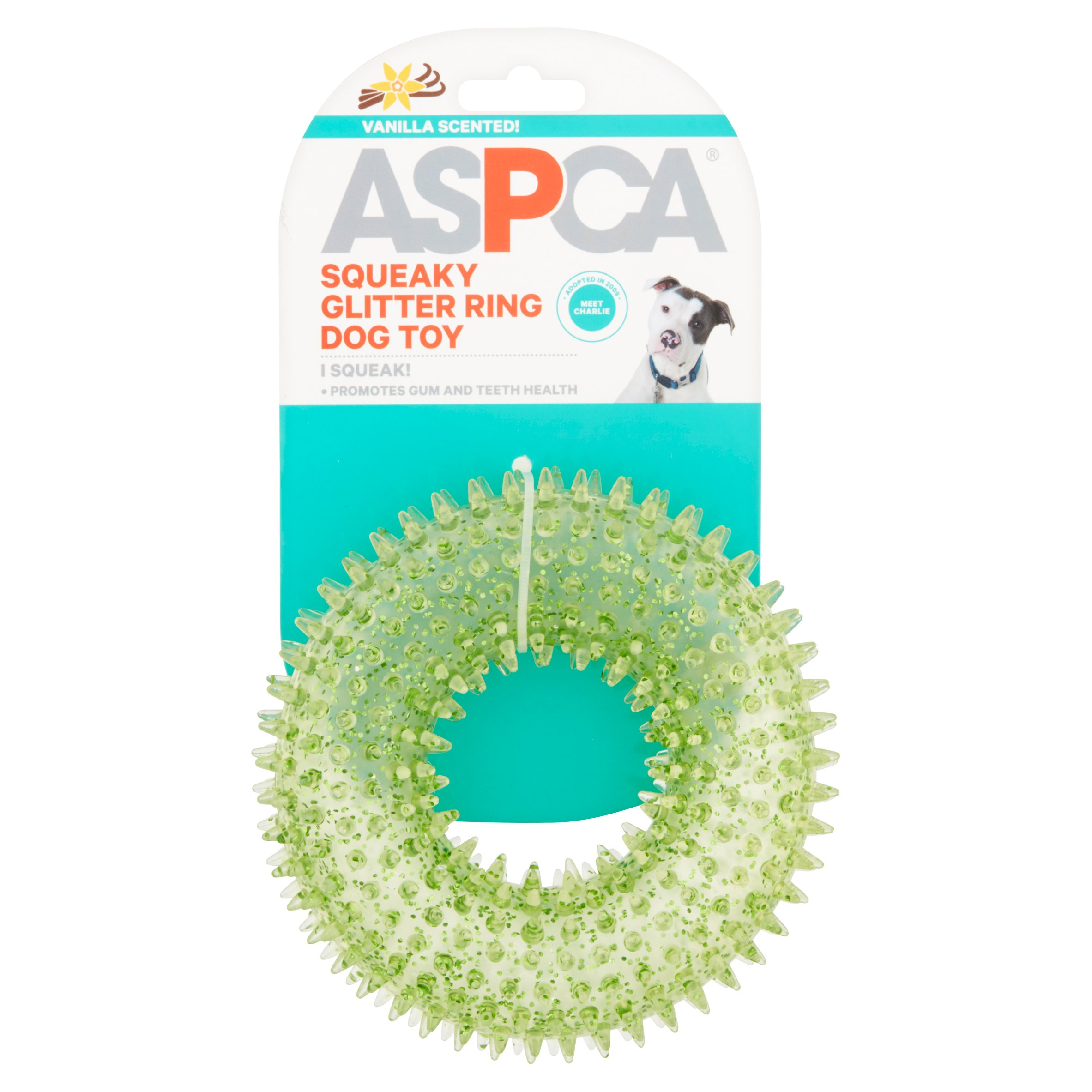 ASPCA Orange Squeaky Glitter Ring Dog Toy