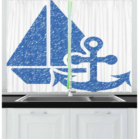 Vintage Blue Curtains 2 Panels Set, Marine Themed Anchor and Sailboat with Grungy Design Nautical Print, Window Drapes for Living Room Bedroom, 55W X 39L Inches, Azure Blue and White, by Ambesonne
