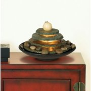 "John Timberland Zen Indoor Tabletop Water Fountain with Light 10"" High 4 Tiered Feng Shui Ball for Table Desk Office Home Bedroom"